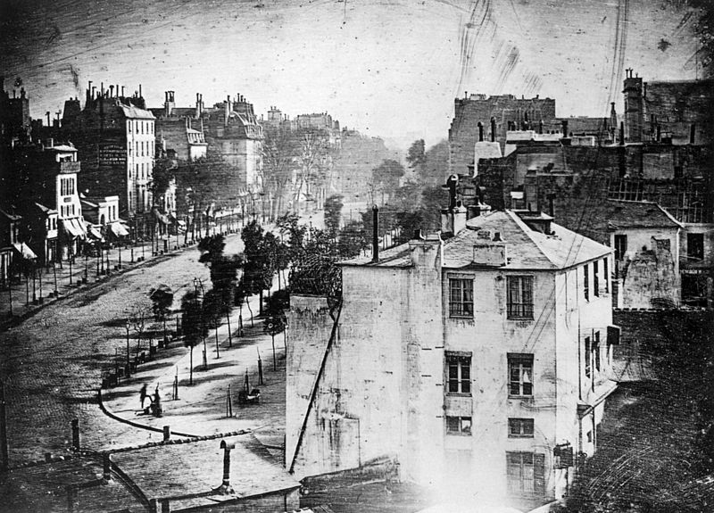 Boulevard du Temple, Paris, by Louis Daguerre, 1838. Wikimedia Commons image, Scanned from The Photography Book, Phaidon Press, London, 1997.