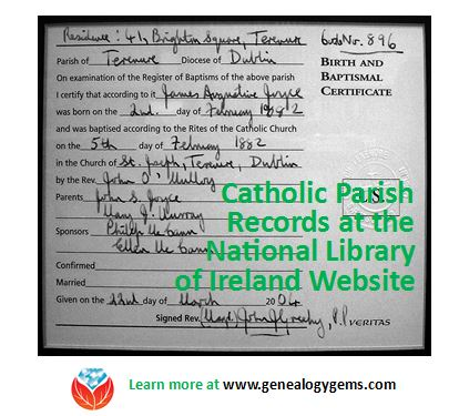 Writer James Joyce's baptismal certificate; click to link to Wikipedia image.