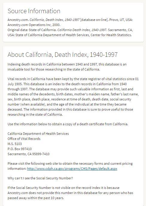 California death index screenshot
