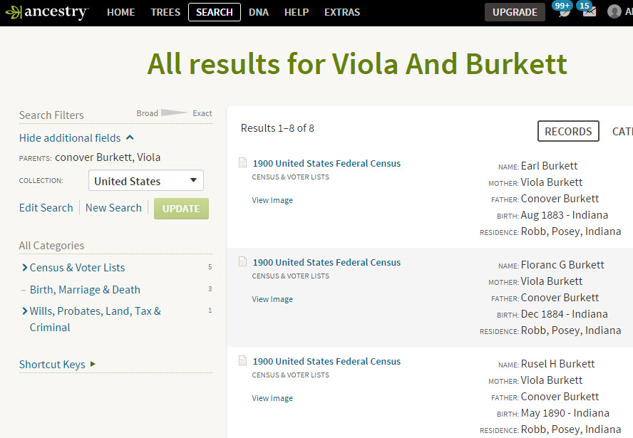 ancestry parent search results