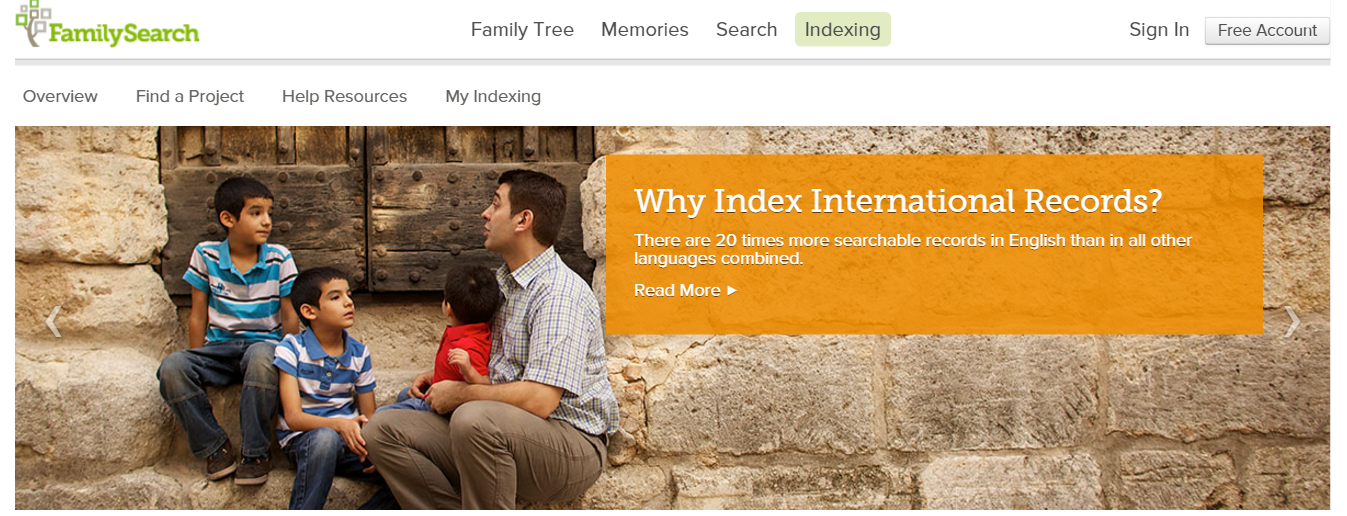 FamilySearch indexing international records