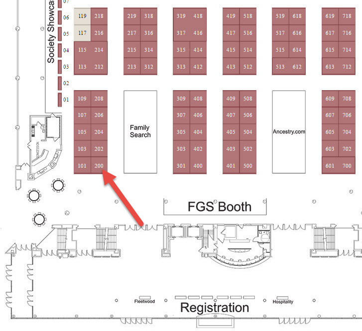 map of Genealogy Gems booth at FGS