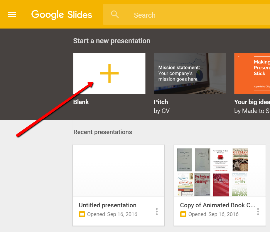 New Google Slides for Genealogy Presentation