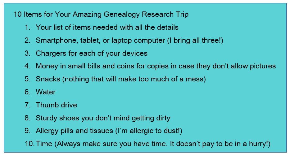 10 items for the genealogy research trip