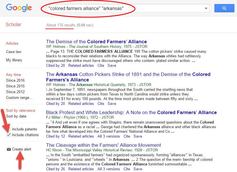 google scholar search for colored farmers alliance