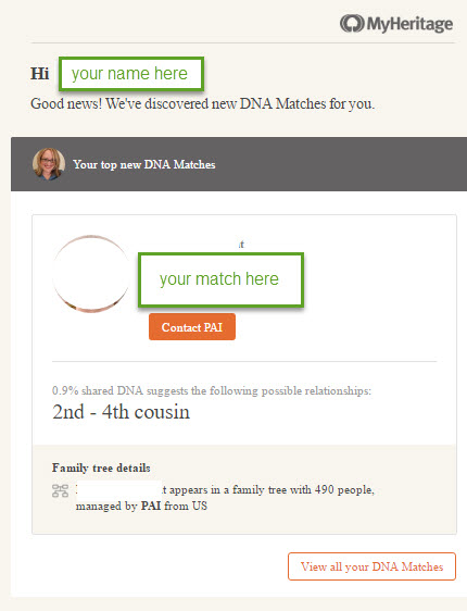 MyHeritage dna match alert