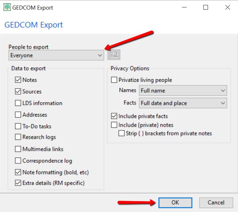 GEDCOM export