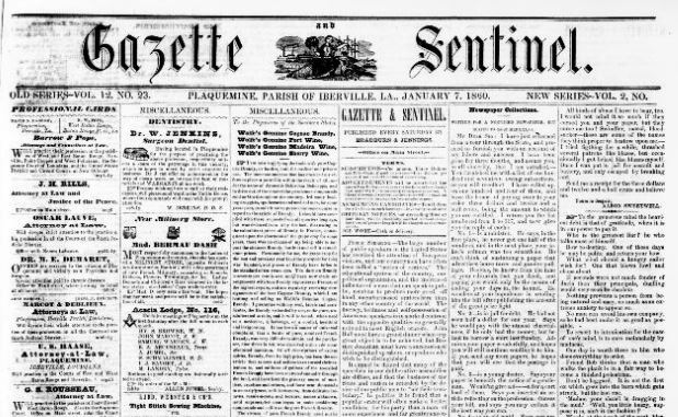 Gazette Sentinel, Plaquemine, LA, Jan 20, 1860, Image from Chronicling America