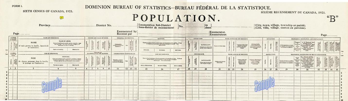 Canada Census 1921 image