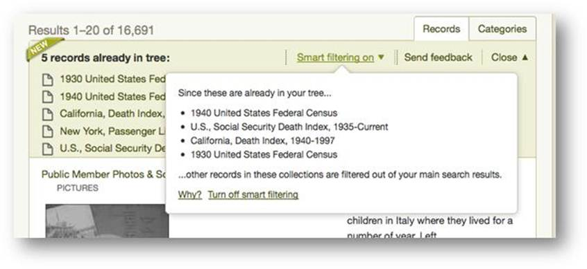 Ancestry smart filtering