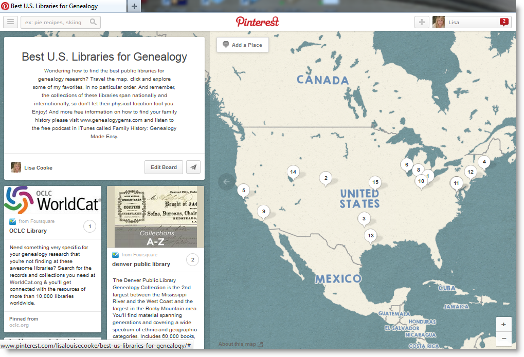 14 Best Libraries for Genealogy via Brand New Pinterest Feature | Genealogy Gems