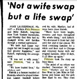 baseball wife-swap newspaper article