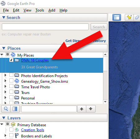 Create a folder in Google Earth for DNA 32 couples