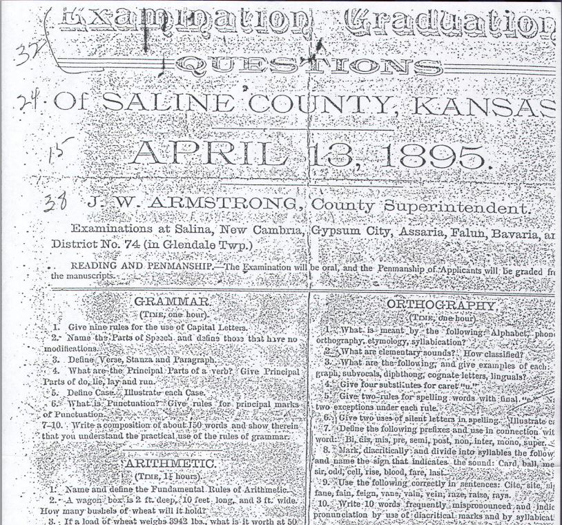 Image taken from exam posted by the Smoky Valley Genealogical Society, Salina, KS, http://www.rootsweb.ancestry.com/~kssvgs/school/exam1895/8th_exam_orig.pdf.