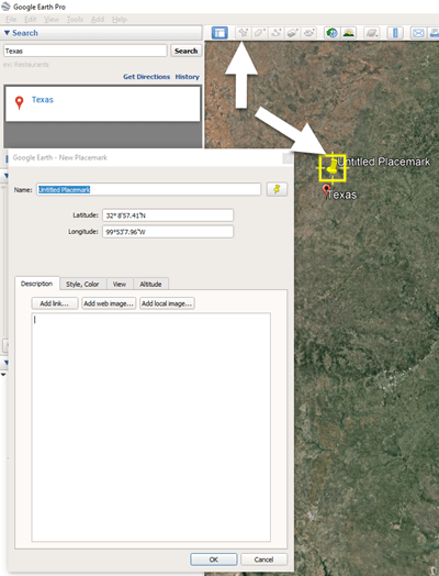 Click the Placemark button in the Google Earth toolbar