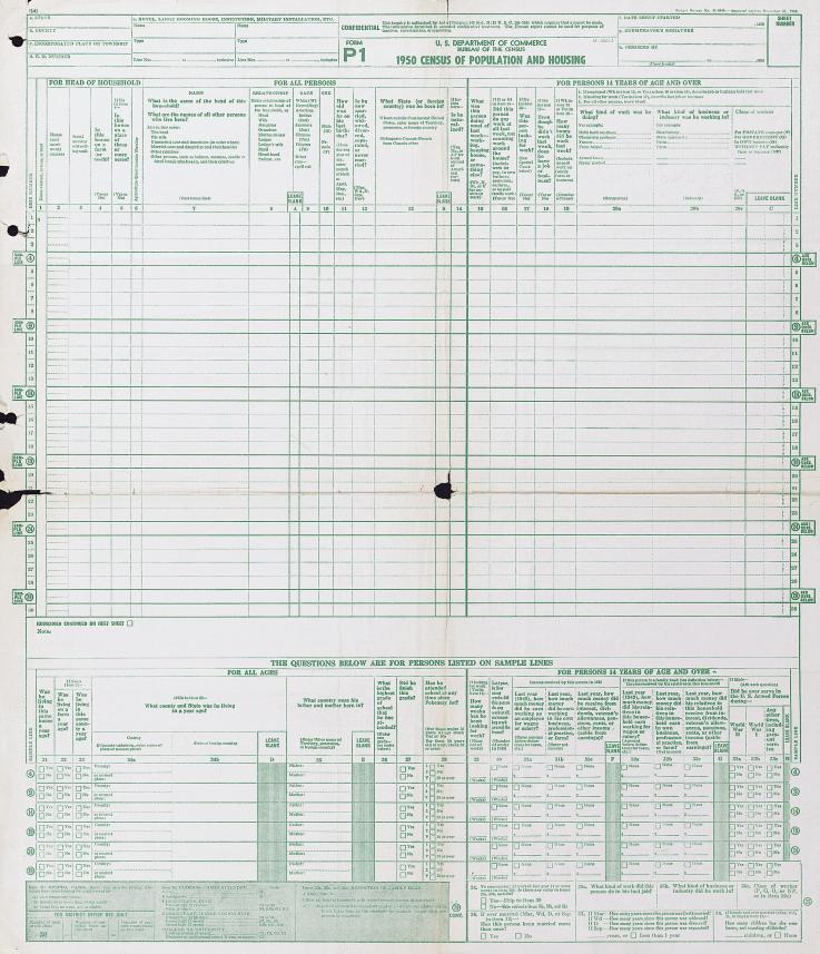 1950 census form page 1