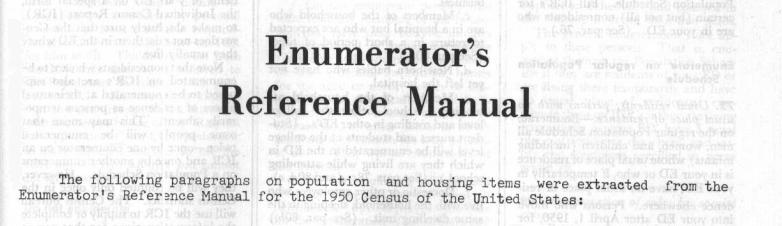 1950 census manual