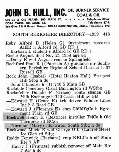 Norman Rockwell in the Berkshire City Directory