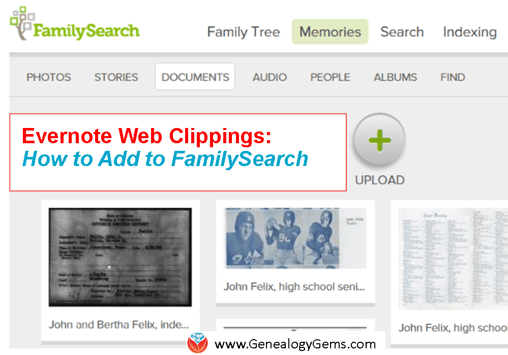 Cite Your Sources on FamilySearch with the Evernote Web Clipper: Evernote for Genealogy
