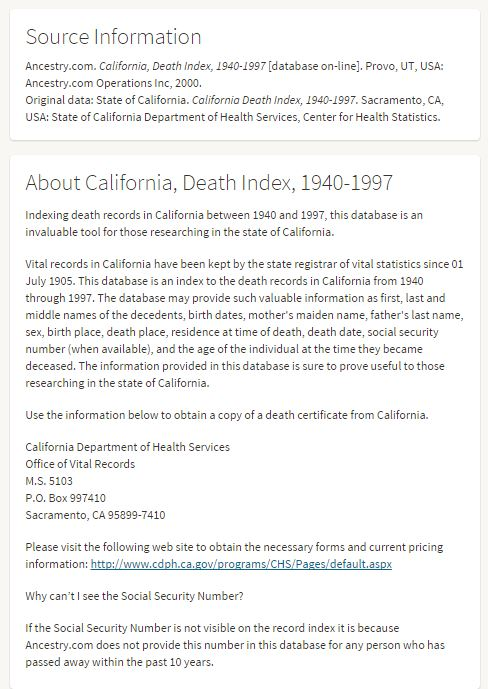California death index screenshot