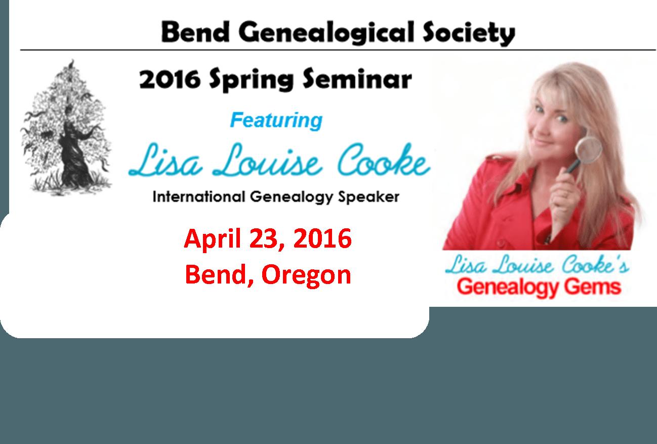 Lisa Louise Cooke Coming to Oregon: Bend Genealogical Society Spring Seminar