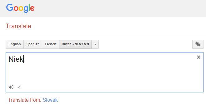 Google Translate how to pronounce Niek