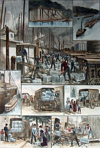 "The ice trade around New York; from top: ice houses on the Hudson River; ice barges being towed to New York; barges being unloaded; ocean steamship being supplied; ice being weighed; small customers being sold ice; the ""uptown trade"" to wealthier customers; an ice cellar being filled; by F. Ray, Harper's Weekly, 30 August 1884. Public domain image, Wikimedia Commons. Click to view."