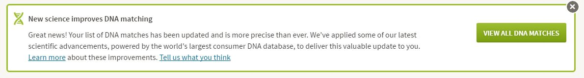 AncestryDNA match improvement announcement