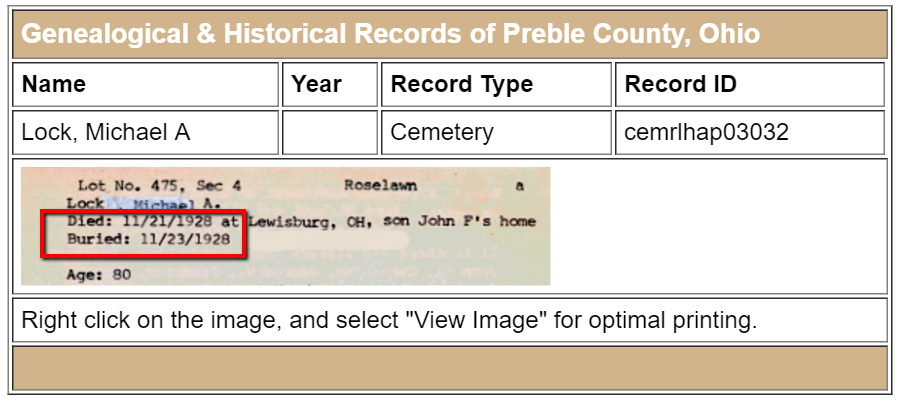 cemetery records for Michael Lock