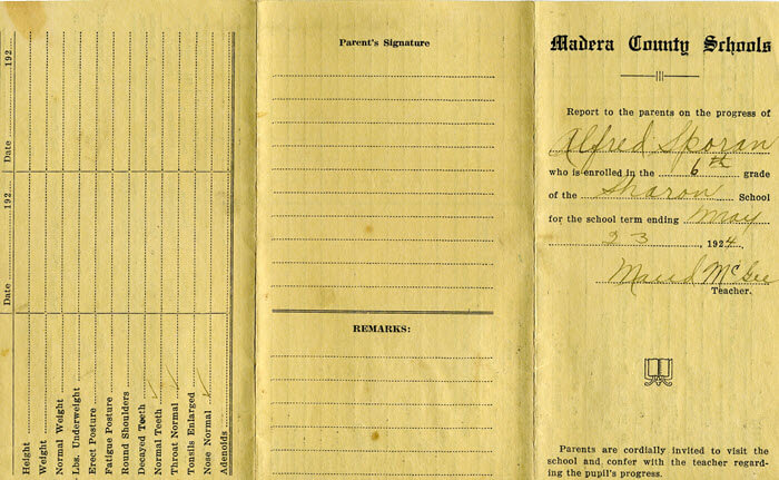 Example of a report card school genealogy records