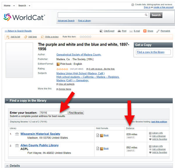 worldcat search for school records for genealogy