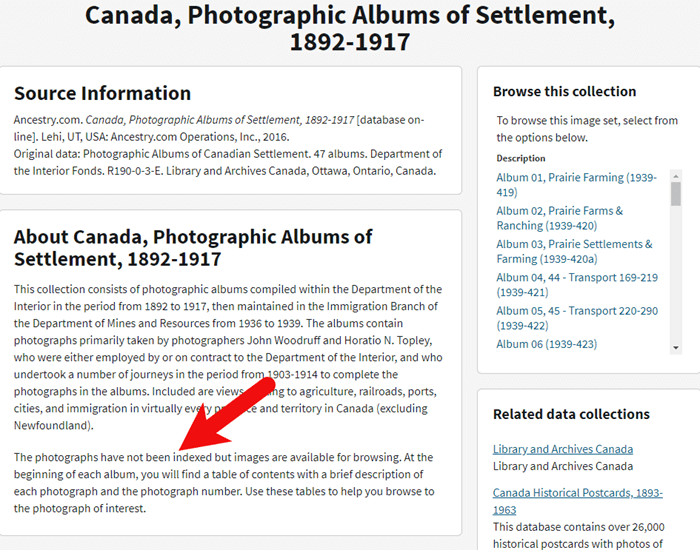 Browse only database of Canadian records