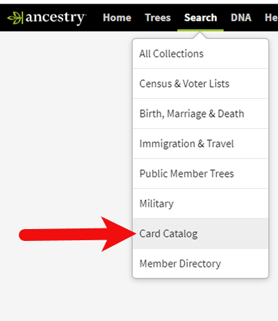 Ancestry.com Card Catalog Search