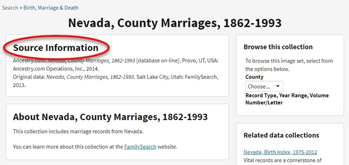 browse only genealogy record collection at Ancestry
