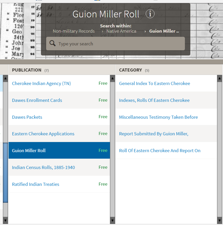 Fold3 offers the Guion Miller Roll