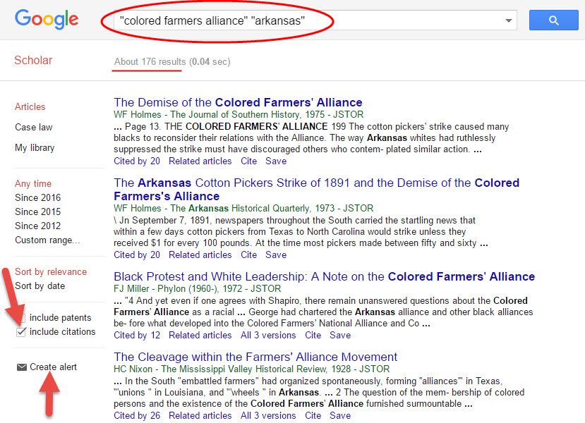 google scholar search for colored farmers alliance