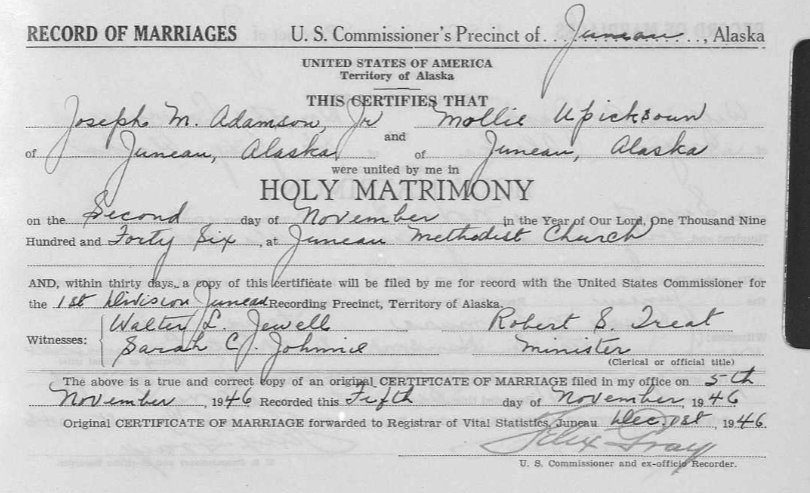 Alaska genealogy marriage record