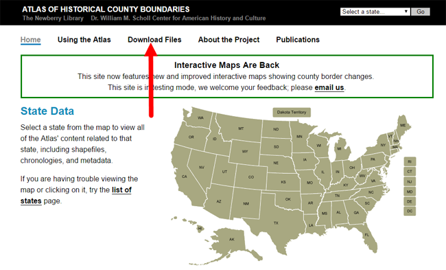 download files at Atlas of Historical County Boundaries