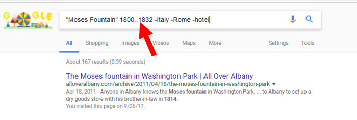 Moses Fountain search numrange