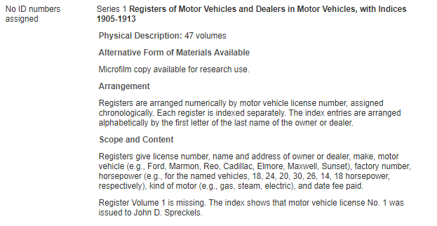 Registers of Motor Vehicles and Dealers in Motor Vehicles, with Indices 1905-1913