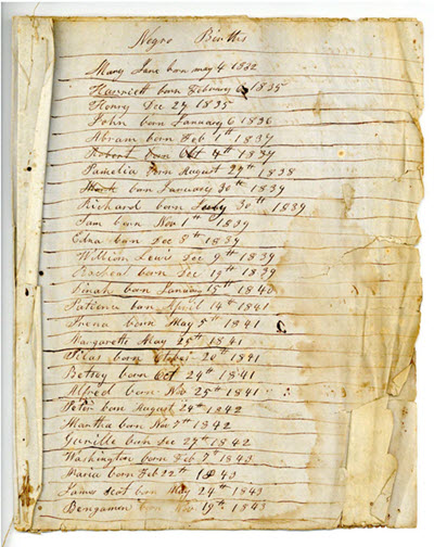 slave birth record