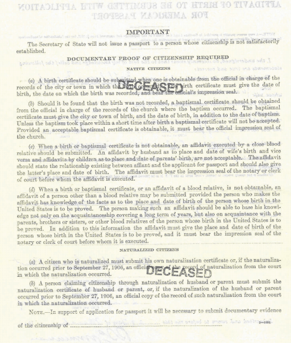 Documentary Proof of Citizenship Passport application for genealogy
