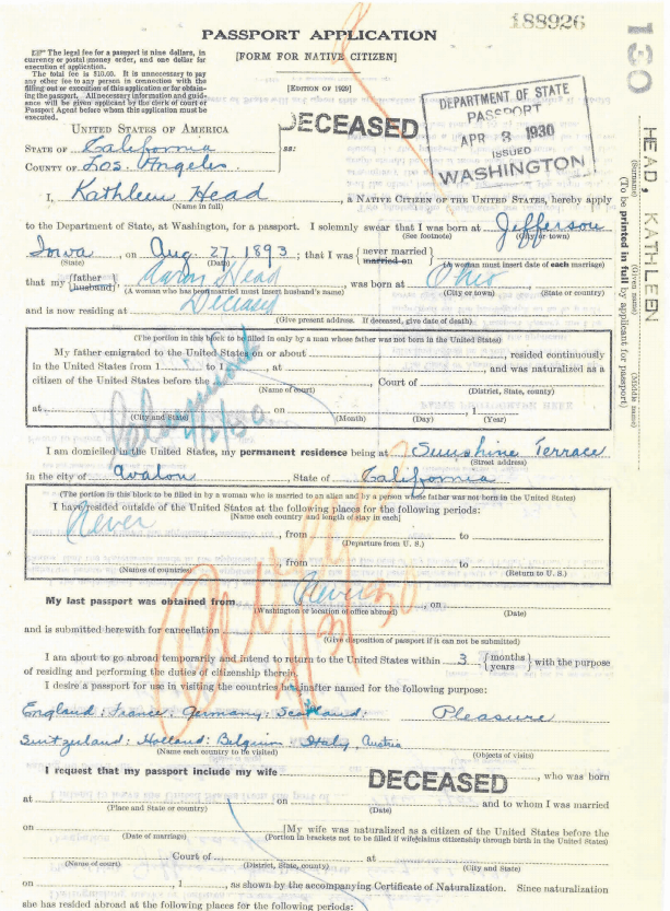 3) Passport Application 1930