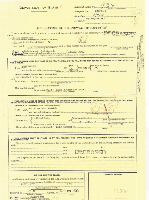 7) Application for Renewal of Passport 1938