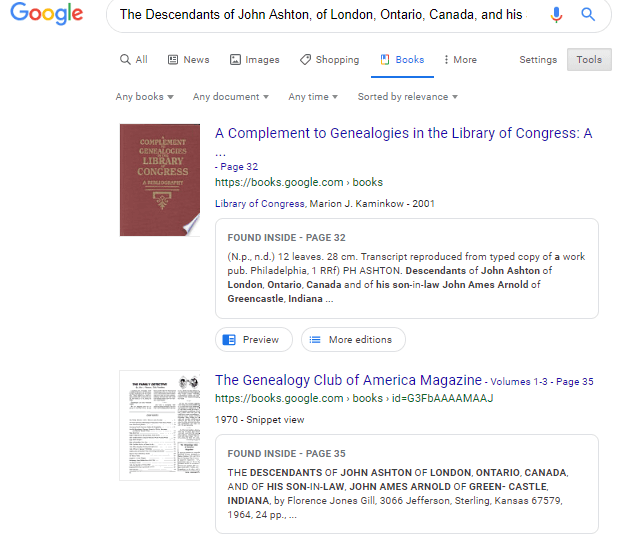 google books search results