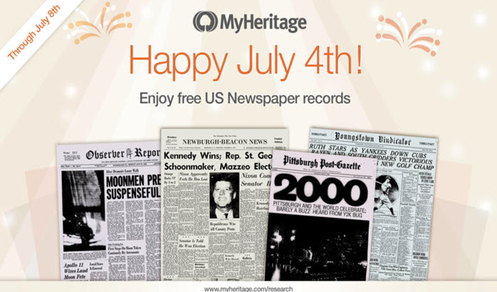 Free US Historical Newspapers on MyHeritage for July 4 Week