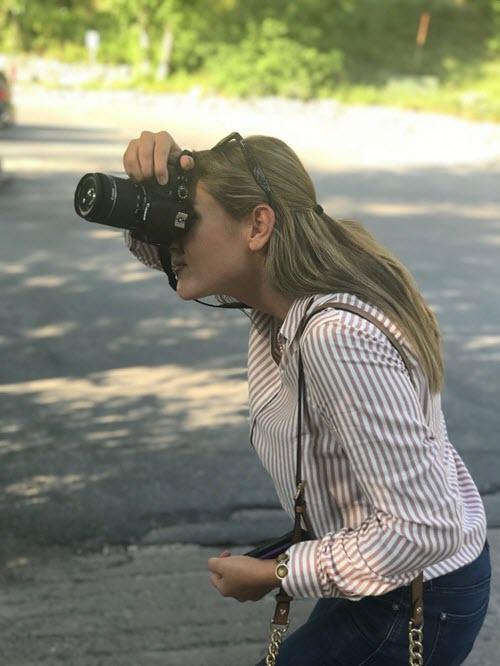 Hannah photographing Sundance