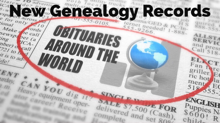genealogy records obituaries around the world