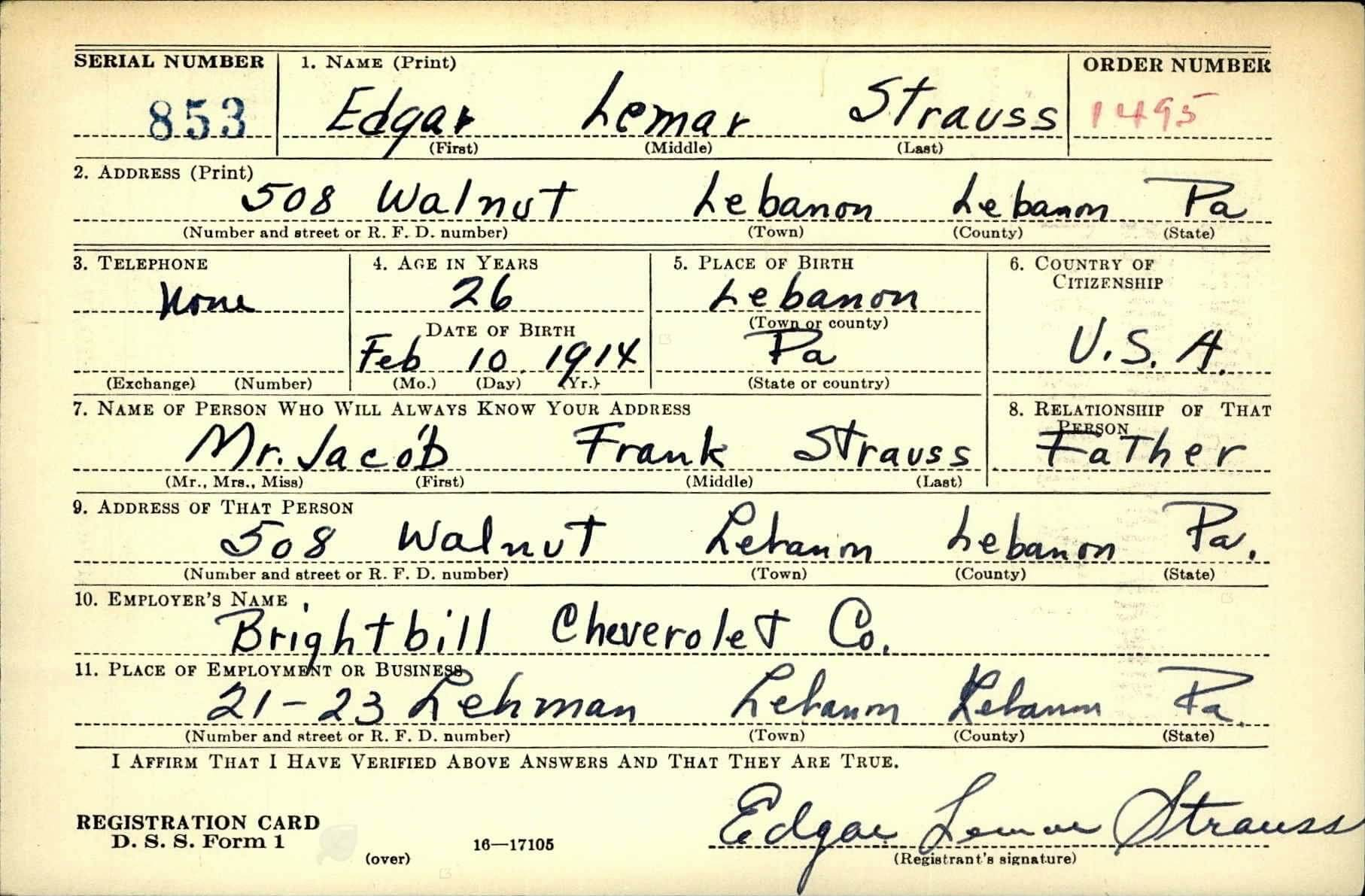 Edgar L. Strauss-WWII Draft Card