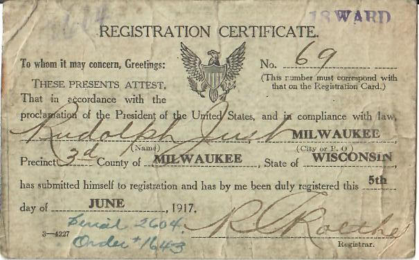 Rudolph Just-WWI Registration Certificate